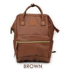 『日本代購品』大款皮質 BR褐色 anello 新款 皮質大開口後背包 皮製2WAY手提包超便利寬口包