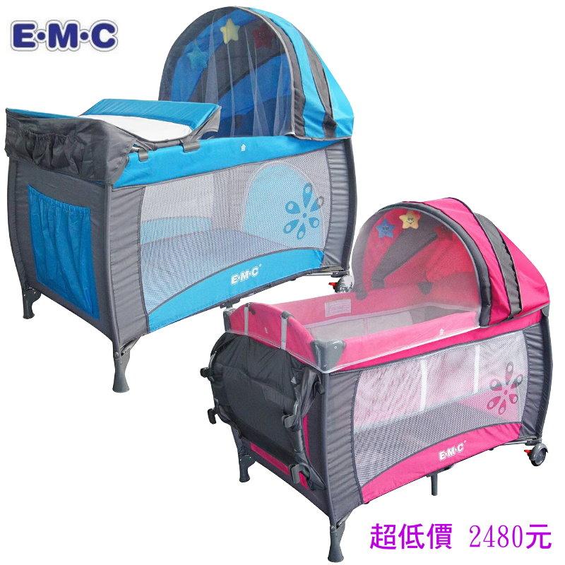 *美馨兒*EMC嬰幼兒雙層遊戲床(2色可挑) 嬰兒床2480元+贈蚊帳(來電或來店另有贈)