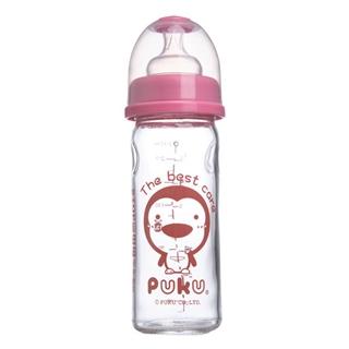 『121婦嬰用品館』PUKU 寬口玻璃奶瓶-粉230cc