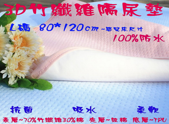 *彩色童話*3D竹纖維吸水隔尿墊/防水尿墊/產褥墊/生理墊/保潔墊 超大號束帶款~嬰兒床尺寸_