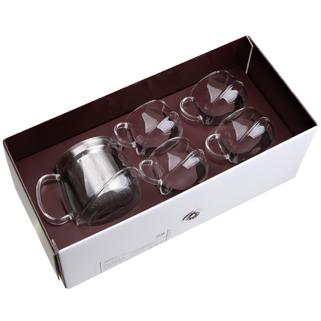 【佑銘嚴選E-GL005-B3-B5】不倒翁(壺+4杯)5入禮盒/雙層玻璃保溫杯/茶壺/茶杯