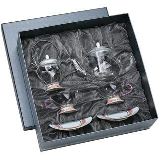 【佑銘嚴選GQ802POF】晶豔-玫瑰(花茶壺+糖罐+2花茶杯碟)4入禮盒/茶壺/茶杯/茶包/茶海