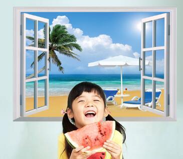 WallFree窩自在★DIY無痕壁貼/牆貼-假窗海邊度假-SK7019A