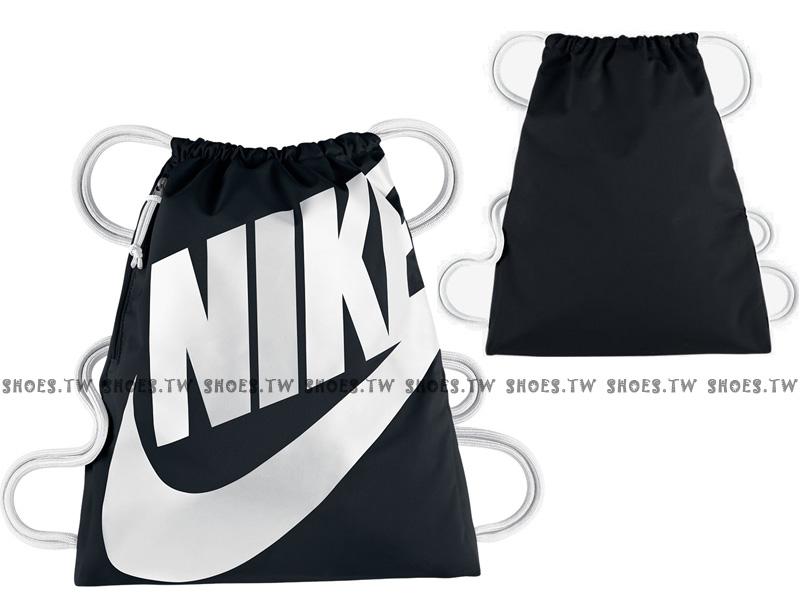 Shoestw【BA5351-011】NIKE GYMSACK 束口袋 側拉鍊 輕便袋 鞋帶 大字款 黑白