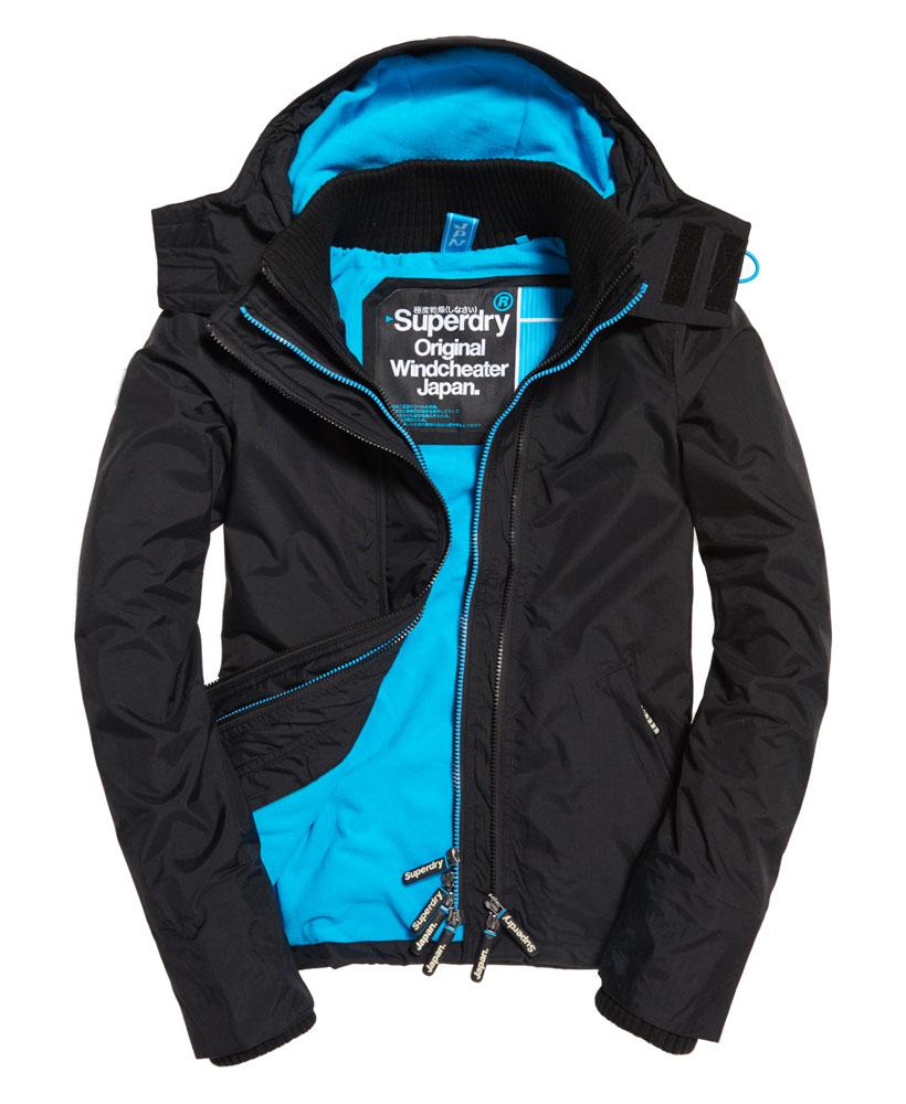 [女款]Outlet英國 極度乾燥 SUPERDRY Pop Zip HoodedWindcheater 女款三層拉鍊連帽防風衣夾克 黑/螢光藍