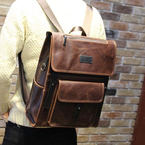 PocoPlus 韓版手提包 三用包 電腦包 後背包 書包 瘋馬皮紋款 英倫【B249】