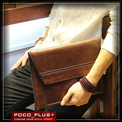 PocoPlus 文件包 簡約款 多層韓版手拿包 硬挺信封包 手抓包 拉鍊式 手抓包【B420】