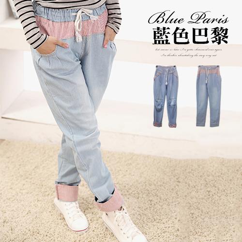 牛仔褲 - 縮腰抽繩刷色牛仔男友褲《2款》【31107】 ? 藍色巴黎 ? ? 現貨商品