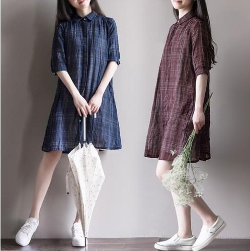 滿700再折$100 [英倫敘事] 兩件組 復古棉麻學院風經典格子棉綁帶背心裙式洋裝+外套罩衫[2色,M~2XL] - 御聖願
