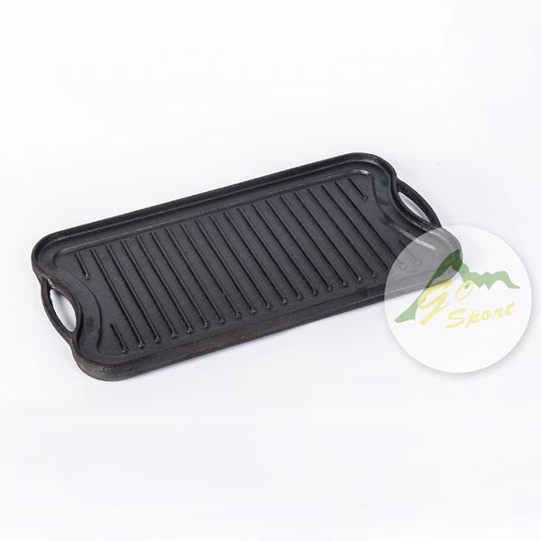 【露營趣】中和 GO SPORT 40453 鑄鐵長方型烤盤 雙面烤盤 雙耳烤盤 煎盤 BBQ 露營烤肉
