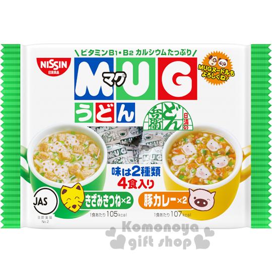 〔小禮堂〕日本原產 日清NISSIN 馬克杯麵《4入.雙味烏龍.94g.袋裝》豆皮.豬肉咖哩味