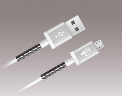 T.C.STAR Micro USB 1.2M 鋁合金彈簧充電傳輸圓線TCW-U1120SR 黑/白兩色可選