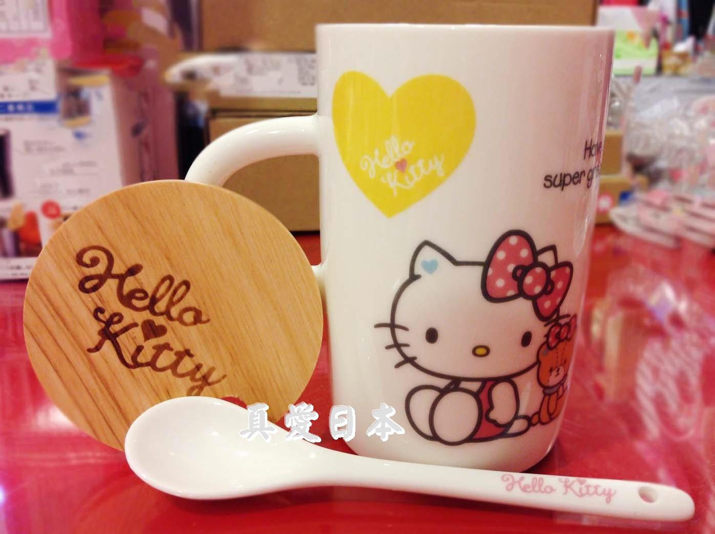 【真愛日本】16042800045馬克杯+蓋附湯匙-與熊彩心 三麗鷗 Hello Kitty 凱蒂貓  水杯 咖啡杯 附蓋