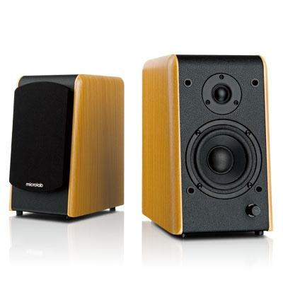 Microlab B-77 2.0聲道精緻Hi-Fi立體多媒體喇叭 (木紋色) 加贈QED發燒線