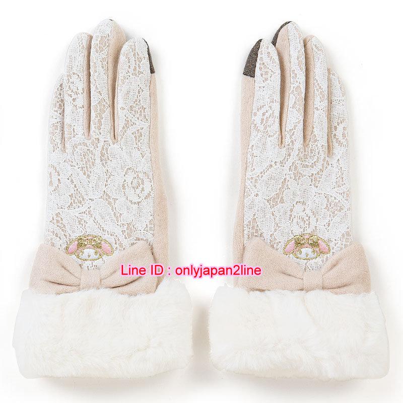 【真愛日本】16101400038電繡蕾絲手套可觸控-MM白  三麗鷗家族 Melody 美樂蒂 手套 禦寒用品 保暖