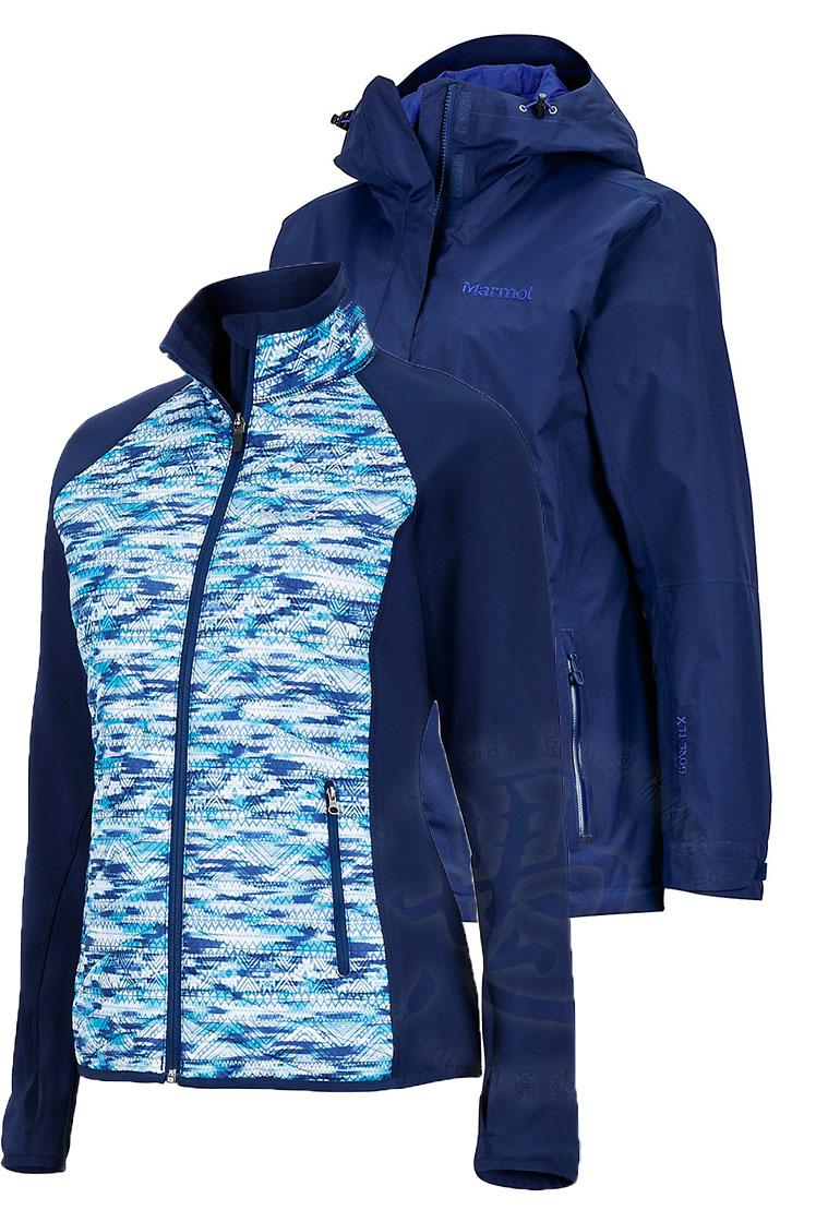 ├登山樂┤美國Marmot Wayfarer 女款GORE-TEX防水外套/風雨衣 兩件式 水紋圖騰保暖化纖 靛藍# 36000-2975