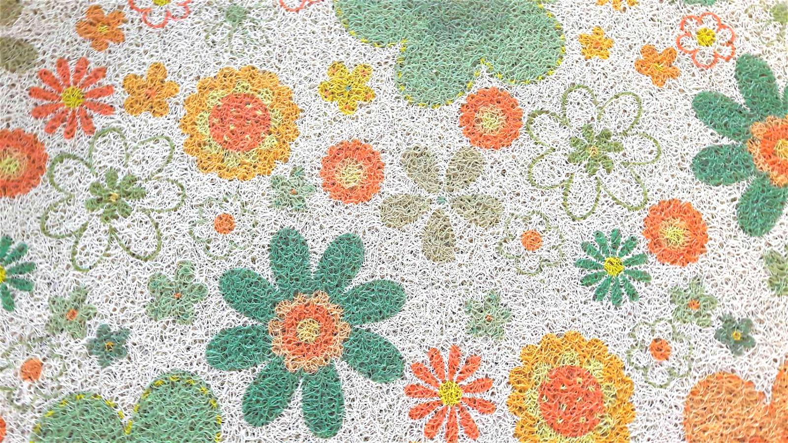 La maison生活小舖《印花刮泥繪圖地墊腳踏墊》可愛黃綠花朵繽紛圖案 耐用防滑 玄關、客廳、車裡皆適用 不同於一般刮泥圖案 放在美觀大方 地墊/軟墊/腳踏墊/止滑墊/刮墊/車用墊 40X60CM不..