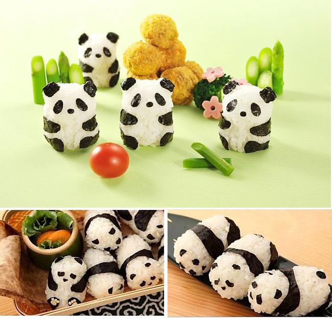 3D立體熊貓海苔飯模 飯糰模具三件組/DIY便當飯/壽司飯糰壓花造型/吐司模/餅乾模/壓模/野餐