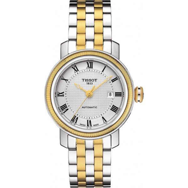 TISSOT天梭T0970072203300 BRIDGEPORT 雙色機械腕錶/白面29mm