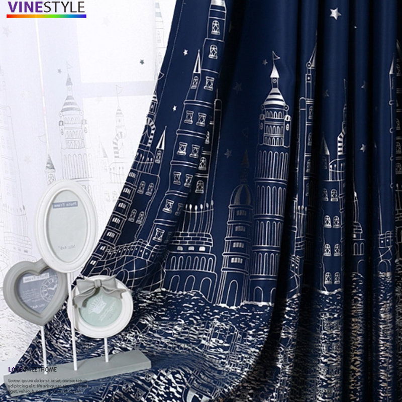 +伯爵威廉古堡遮光窗簾【寬130*高180cm】燙銀設計 手繪城堡+