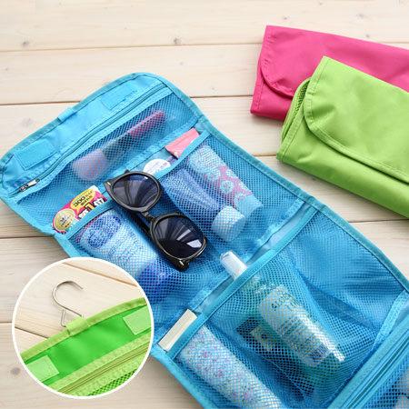 簡約三折可掛式收納包 便攜式 掛勾 旅行包 盥洗包 手提式整理包【N100478】