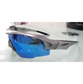 【凹凸眼鏡】【新款-銀盔甲】ADHOC-K-NIGHT-B軍用級運動太陽眼鏡(鈦銀色框)加贈夜視鏡片(黃片)~六期零利率~