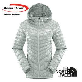 The North Face 女 PrimaLoft ? ThermoBall 保暖兜帽外套 灰白 CUD4