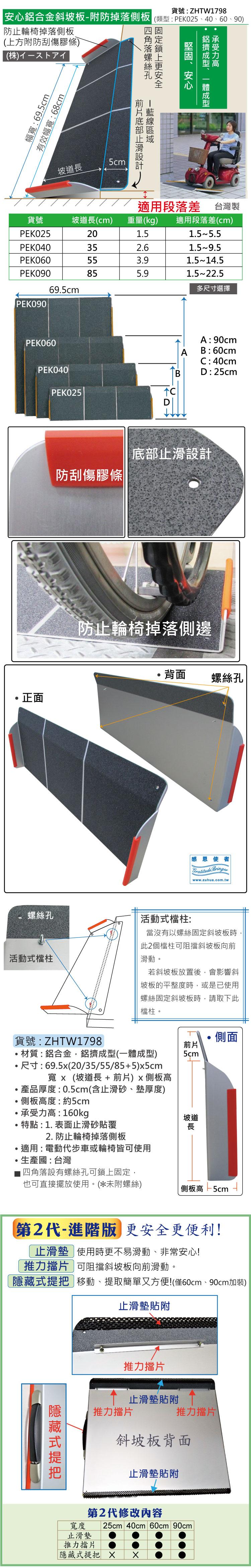 #第2代#可攜式-鋁合金斜坡板-附防掉落側板款,防刮傷膠條、止滑加工、加裝推力擋片,多種尺寸 #台灣製斜坡板,安全又安心