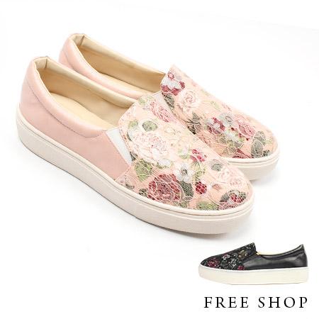 Free Shop【QSH0299】日韓風格蕾絲玫瑰拼布造型皮質拼接休閒鞋懶人鞋‧二色(FL07) MIT台灣製