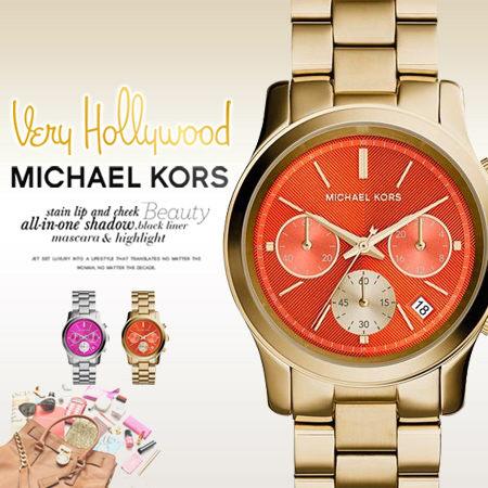 美國Outlet 美國正品代購 Michael Kors MK 不鏽鋼 淺粉 金錶帶 三環計時日曆 手錶 腕錶 MK6162