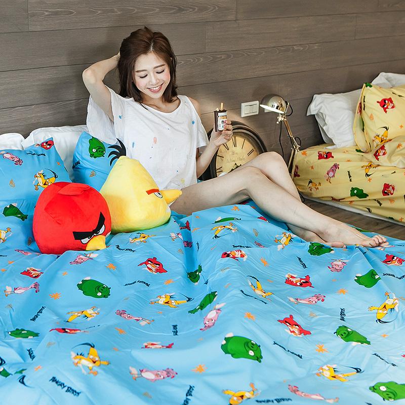 床包 / 單人【憤怒鳥Angry Bird-藍】含一件枕套,磨毛多工法處理,戀家小舖台灣製