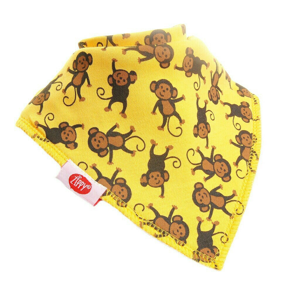*babygo*英國Zippy 幼兒時尚口水巾-黃色猴子【1入】