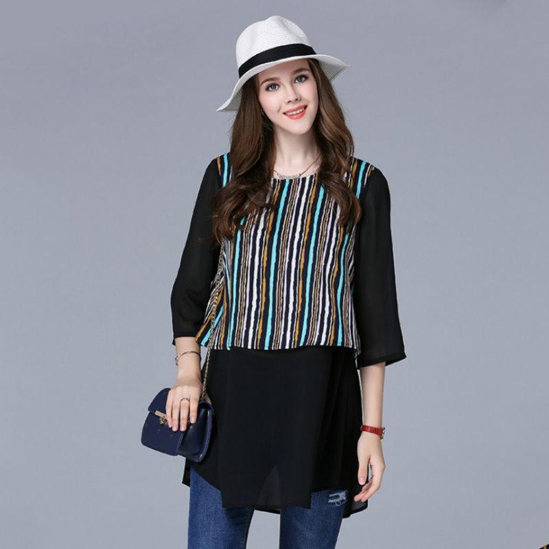 大尺碼 歐美時尚撞色直條紋假兩件七分袖上衣XL~5XL【紐約七號】A2-561