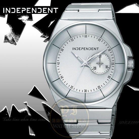 INDEPENDENT日本原創簡約紳士時尚腕錶-白/41mm BH7-016-51公司貨/廣告款/禮物/情人