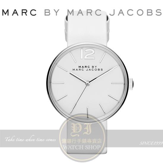 MARC BY MARC JACOBS國際精品Peggy簡約時尚真皮腕錶-白/36mm MBM1361公司貨