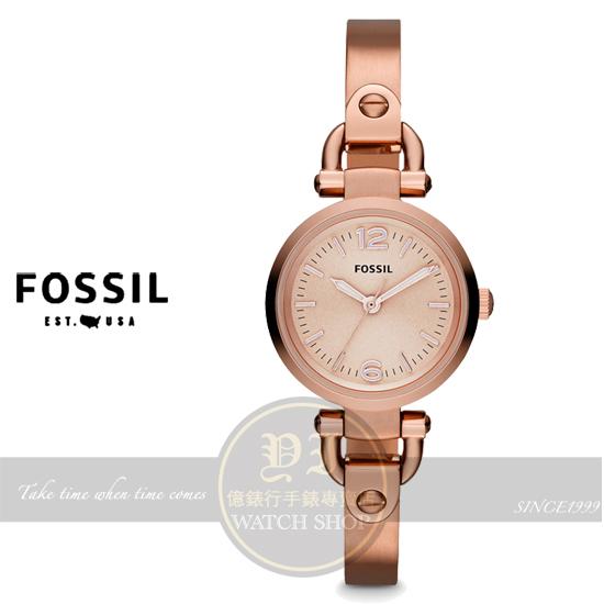 FOSSIL美國品牌Georgia Mini晶鑽手鍊腕錶-玫瑰金/26mm ES3268公司貨/情人節