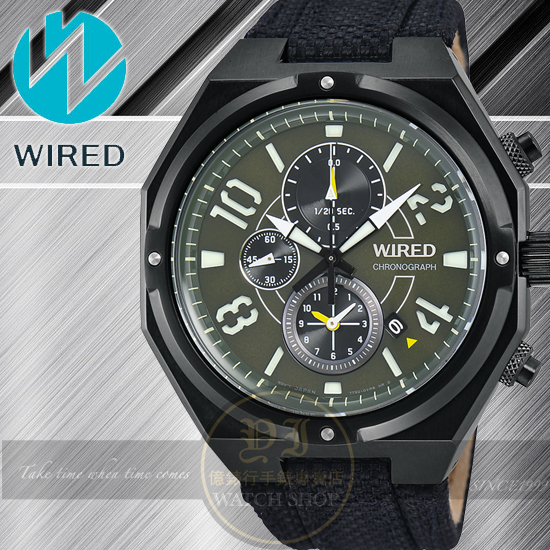 WIRED RIGID 武士戰神計時腕錶-軍綠/42mm 7T92-X254G/AF8R83X1公司貨/柯有倫/廣告/聖誕節/生日禮物