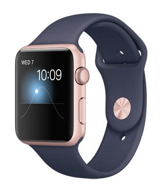 【鐵樂瘋3C 】(展翔) ● Apple Watch【Series1、Series2】/【42mm錶殼】玫瑰金色鋁金屬錶殼搭配午夜藍色運動型錶帶