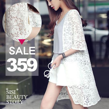 SISI【C6031】歐美浪漫全鏤空蕾絲雕花開襟中長款五分袖罩衫外套防曬衫