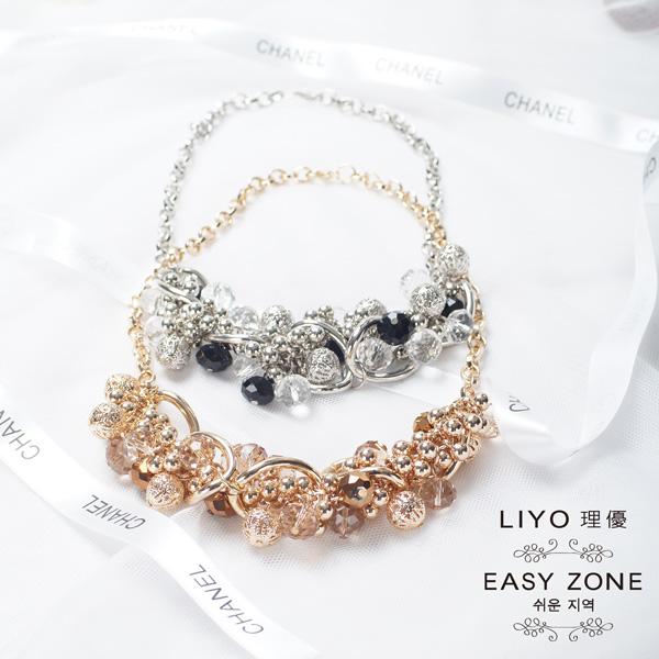 LIYO理優項鍊正韓玻璃珠金屬球短項鍊430310
