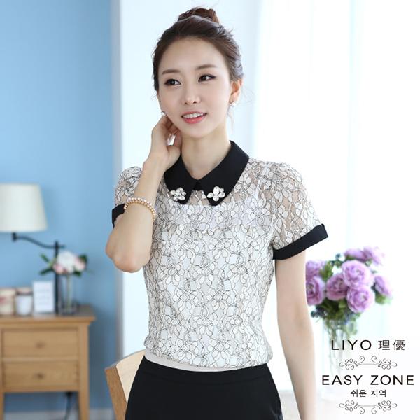 LIYO理優襯衫正韓奢華水鑽花型蕾絲上衣4S5053