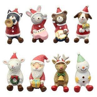 =優生活=【聖誕禮物】zakka日單聖誕夜仰望天空聖誕老人熊兔狗貓羊雪人麋鹿公仔擺設 交換禮物 拍攝擺件 八入一組