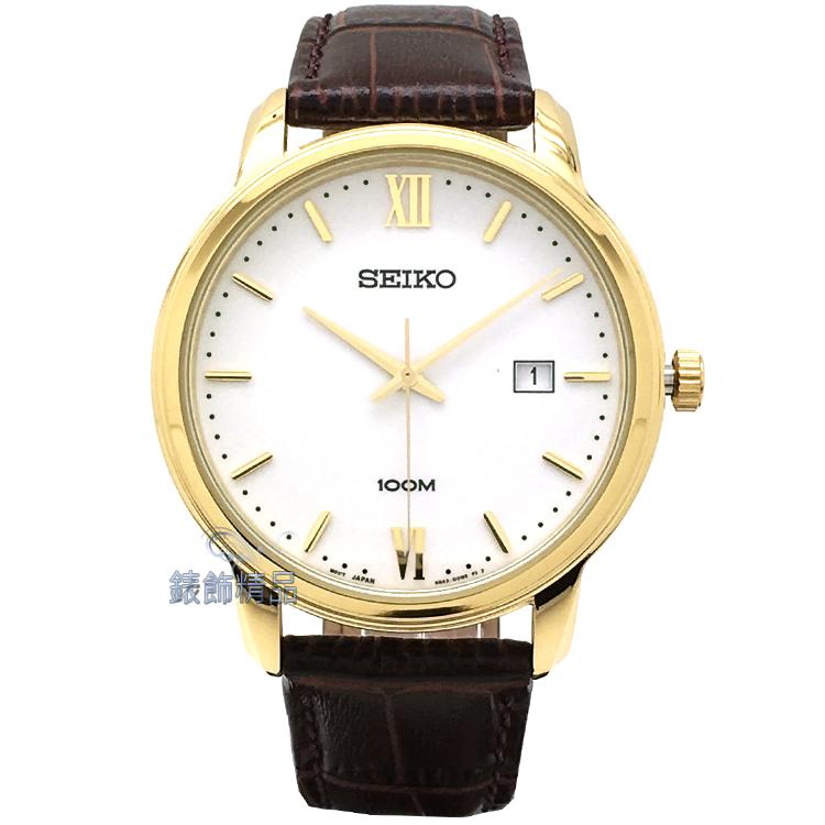 【錶飾精品】SEIKO手錶 精工表 品味卓越 白面日期 IP金框咖啡色壓紋皮帶男錶 SUR202P1 全新原廠正品