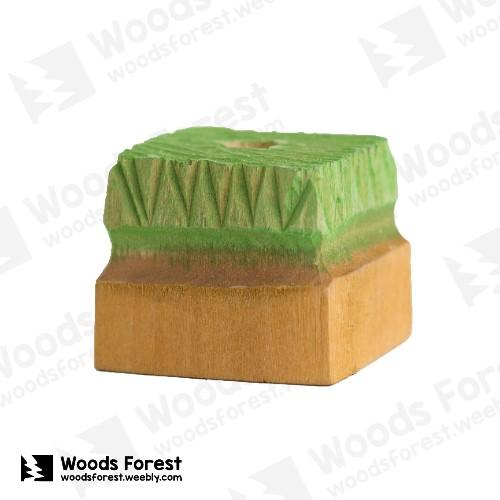 Woods Forest 木雕森林 - 禮盒款手工木雕筆單孔專用筆座【綠方塊】