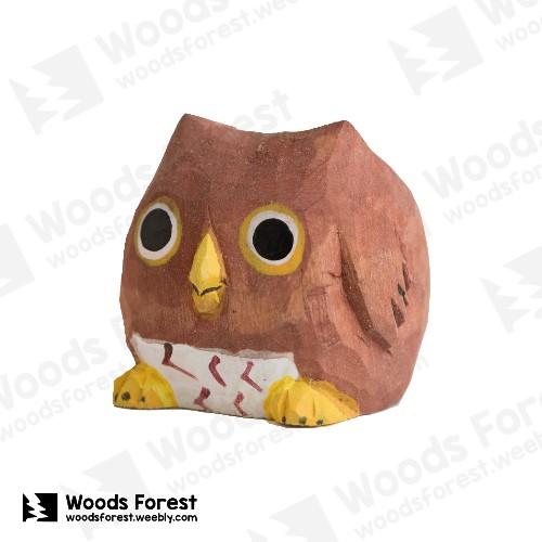 Woods Forest 木雕森林 - 禮盒款手工木雕筆單孔專用筆座【貓頭鷹】