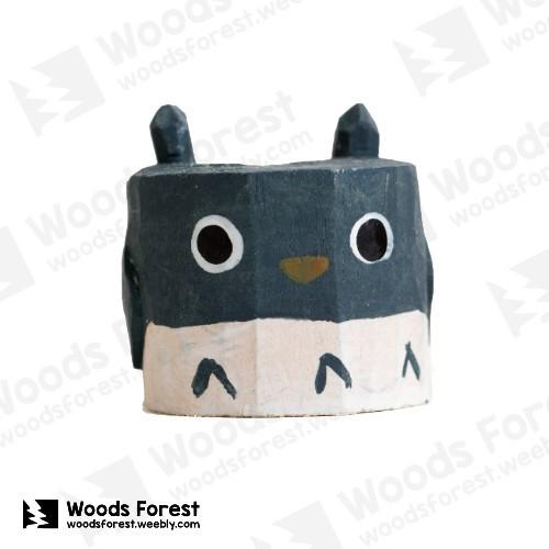 Woods Forest 木雕森林 - 禮盒款手工木雕筆單孔專用筆座【龍貓】