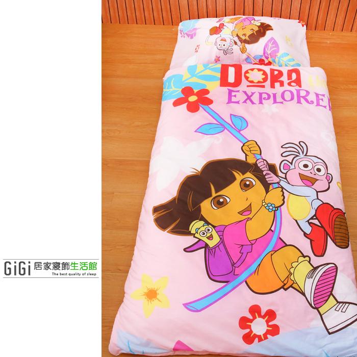 《GiGi居家寢飾生活館》兒童卡通睡袋 冬夏兩用鋪棉 台灣製造 朵拉Dora 粉