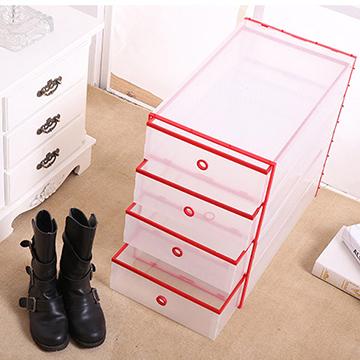 【挪威森林】高質感雙層抽屜式粉彩鞋子收納盒/鞋盒 全新ABS前後包框不變形不生鏽男女適用(加大)(1入-1抽屜)