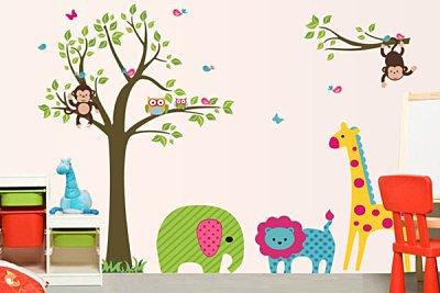 BO雜貨【YV2721】創意兒童壁貼 牆壁貼紙 背景貼 時尚組合壁貼樹 璧貼 磁磚貼 卡通樹與動物