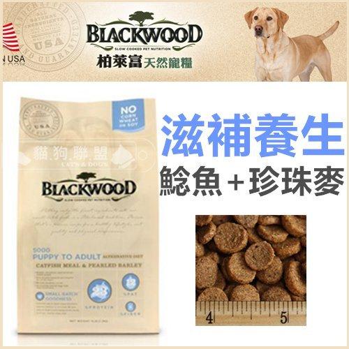 +貓狗樂園+ BLACKWOOD柏萊富【全犬。滋補養生配方。鯰魚+珍珠麥。5磅】520元